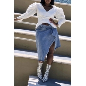 Lovely Sweet Puff Sleeve White Blouse