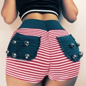 Lovely Casual Striped Patchwork Red Shorts