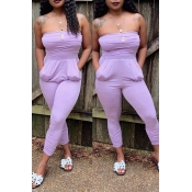 Lovely Casual Off The Shoulder Light Purple One-pi
