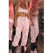 Lovely Casual High Elastic Printed Light Pink Pant