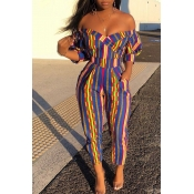 Lovely Stylish Off The Shoulder Striped Multicolor