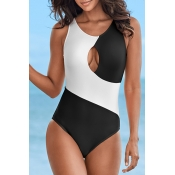 Lovely Patchwork Hollow-out White One-piece Swimwe