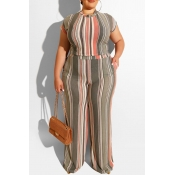 Lovely Casual O Neck Striped Printed Apricot Plus