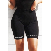 Lovely Casual Letter Printed Black Shorts