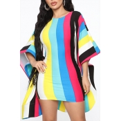 Lovely Sexy Backless Striped Printed Multicolor Mini Dress