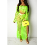 Lovely Sexy Hollow-out Tassel Design Green Two-piece Skirt Set(Without Lining)