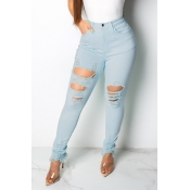 Lovely Casual High Waist Broken Holes Baby Blue Jeans