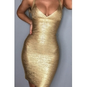 Lovely Sexy Spaghetti Strap V Neck Gold Mini Dress