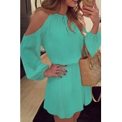 Lovely Stylish O Neck Off The Shoulder Green Mini