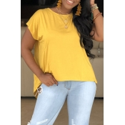 Lovely Casual O Neck Yellow T-shirt