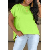 Lovely Casual O Neck Green T-shirt