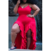 Lovely Sexy V Neck Asymmetrical Red Plus Size One-piece Jumpsuit