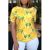Lovely Casual O Neck Printed Yellow T-shirt