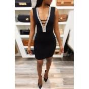 Lovely Sexy Deep V Neck Backless Black Mini Dress