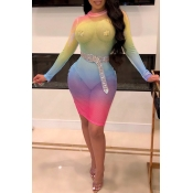 Lovely Sexy O Neck See-through Multicolor Mini Dre