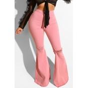 Lovely Casual High Waist Light Pink Jeans