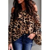 Lovely Stylish Off The Shoulder Leopard Printed Bl