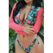 Lovely Printed Patchwork Green Two-piece Swimwear