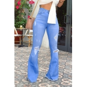 Lovely Casual High Waist Broken Holes Blue Jeans