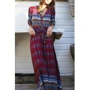 Lovely Bohemian V Neck Printed Wine Red Ankle Length Dress