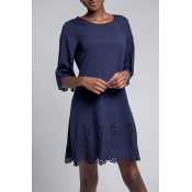 Lovely Casual O Neck Hollow-out Navy Knee Length OL Dress