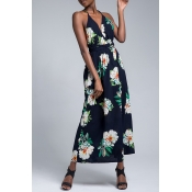 Lovely Sexy V Neck Spaghetti Straps Printed Side Split Emerald-green Ankle Length Dress