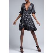 Lovely Sweet V Neck Dot Printed Ruffle Asymmetrical Black Mini Dress