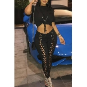 Lovely Casual Bandage Design Black Two-piece Pants