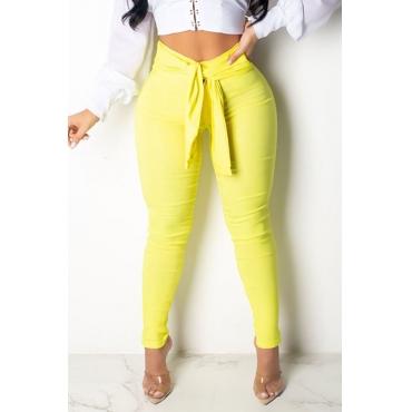 Lovely Stylish High Waist Lace-up Yellow Pants