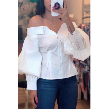 Lovely Sweet Off The Shoulder White Blouse
