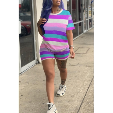 Lovely Casual O Neck Striped Patchwork Purple Two-piece Shorts Set