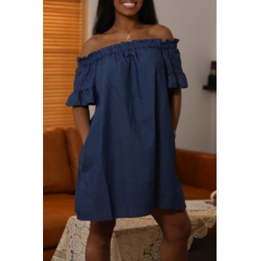 Lovely Casual Off The Shoulder Ruffle Design Deep Blue Mini Dress