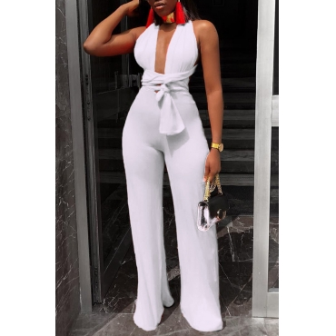 Lovely Sexy Deep V Neck Lace-up White One-piece Jumpsuit
