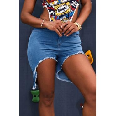 Lovely Stylish Tassel Design Baby Blue Denim Shorts