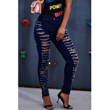 Lovely Stylish Broken Holes Dark Blue Jeans