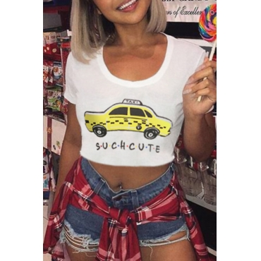 Lovely Casual O Neck Printed White Cotton T-shirt
