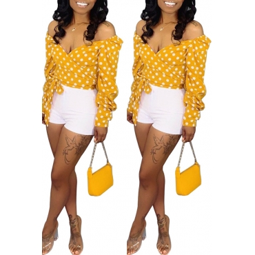 Lovely Sweet Dot Printed Yellow Blouse