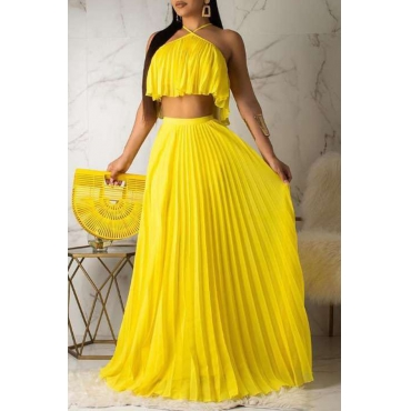 Lovely Sweet Halter Neck Drape Design Yellow Two-piece Skirt Set