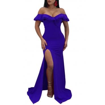 Lovely Sexy Off The Shoulder Side Split Blue Trailing Dress