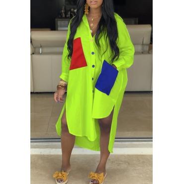 Lovely Casual Turndown Collar Patchwork Asymmetrical Green Dress