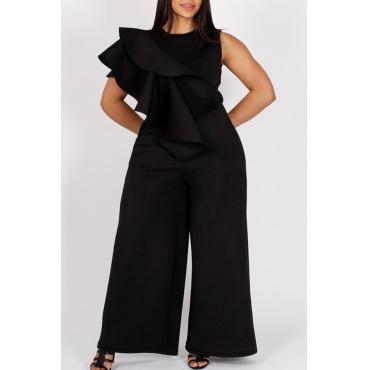 Lovely Stylish O Neck Ruffle Design Black One-piece Jumpsuit