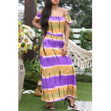 Lovely Bohemian Off The Shoulder Printed Purple Floor Length Dress