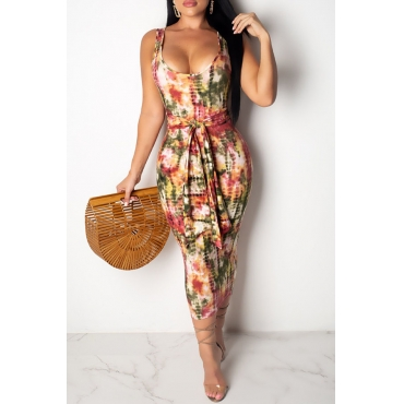 Lovely Sweet U Neck Printed Multicolor Mid Calf Dress