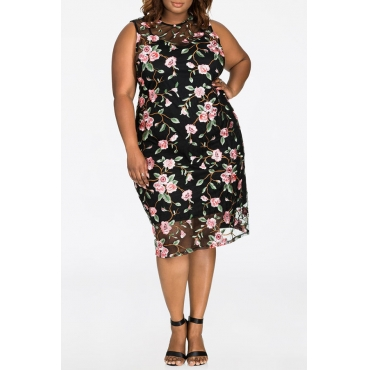 Lovely Bohemian O Neck Printed Black Cotton Knee Length Plus Size Dress