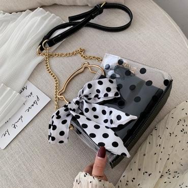 Lovely Stylish Dot Printed Black Crossbody Bag