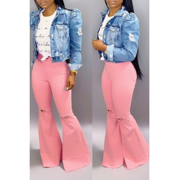 Lovely Casual High Waist Light Pink Jeans