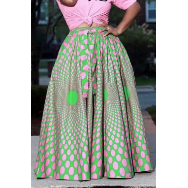 Lovely Sweet Printed Green Ankle Length A Line Skirt