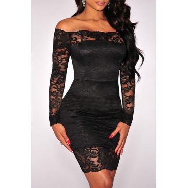 Lovely Stylish Off The Shoulder Lace Patchwork Black Mini OL Dress