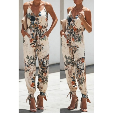 Lovely Stylish  Spaghetti Straps Printed White One-piece Jumpsuit