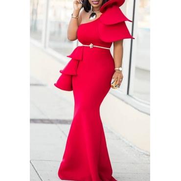 Lovely Vintage One Shoulder Ruffle Design Red Floor Length Trumpet Mermaid Prom Dress